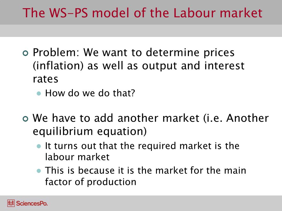 The WS-PS model of the Labour market Problem: We want to determine prices (inflation) as well as output and interest rates How do we do that? We have