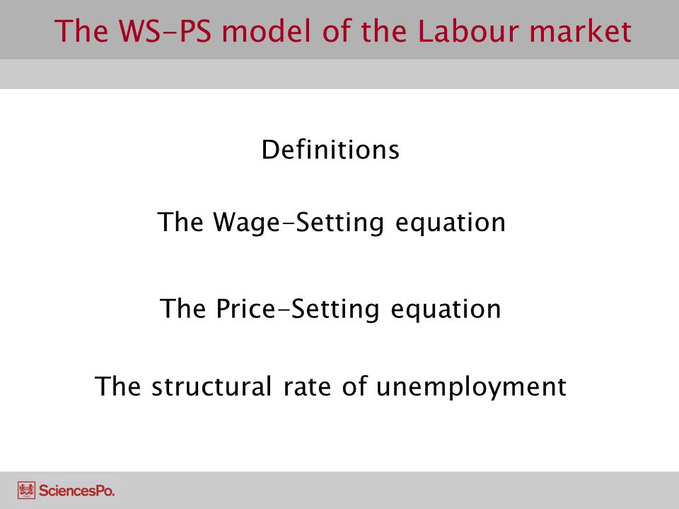 The WS Equation The bargaining power (BP) of a worker is a function of two factors: The ease with which the firm can replace him  Higher likelyhood of replacement ⇒ ↓ BP  This is linked to the skills of the worker and/or the job characteristics The ease with which he can find another job  Higher likelyhood of finding job ⇒ ↑ BP  This is linked to the level of unemployment