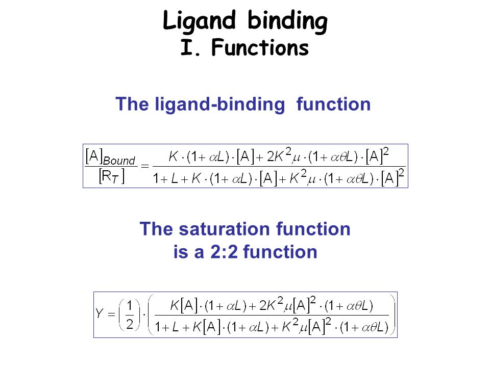 Ligand binding I. Functions The saturation function is a 2:2 function The ligand-binding function