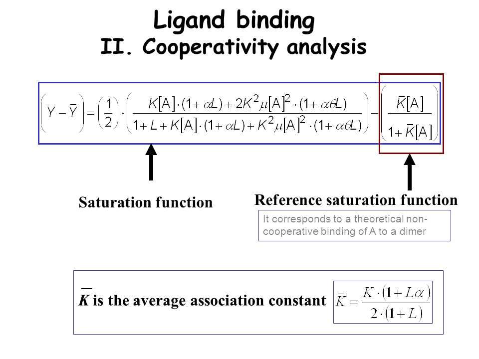 Ligand binding II. Cooperativity analysis Saturation function Reference saturation function K is the average association constant It corresponds to a