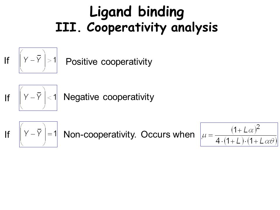 Ligand binding III. Cooperativity analysis If Positive cooperativity Negative cooperativity Non-cooperativity. Occurs when If
