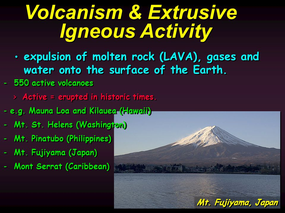 Mt. Fujiyama, Japan Volcanism & Extrusive Igneous Activity expulsion of molten rock (LAVA), gases and water onto the surface of the Earth. expulsion o