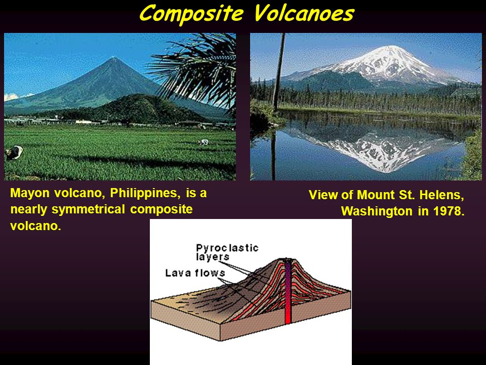 Composite Volcanoes Mayon volcano, Philippines, is a nearly symmetrical composite volcano.