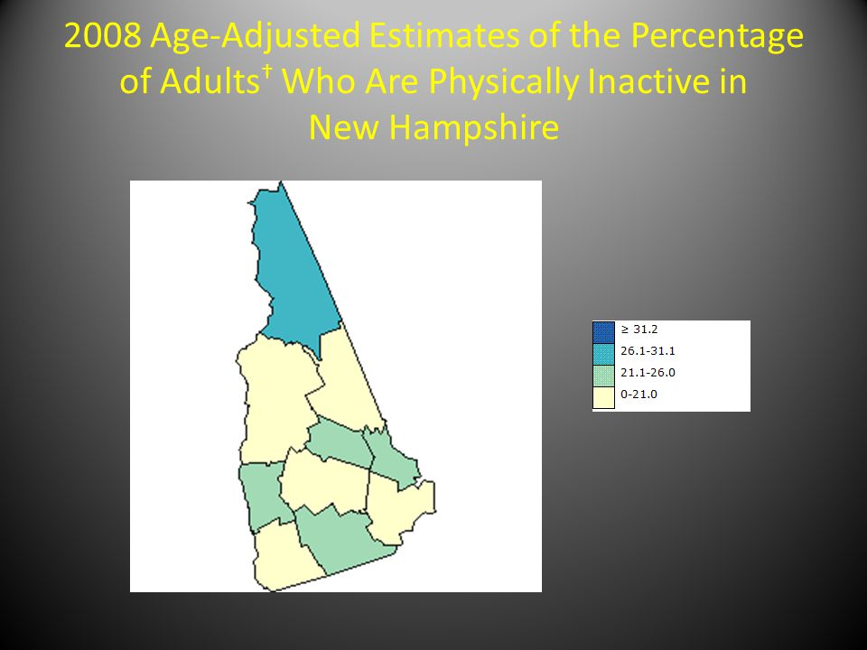 2008 Age-Adjusted Estimates of the Percentage of Adults † Who Are Physically Inactive in New Hampshire