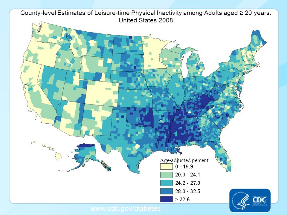 www.cdc.gov/diabetes Age-adjusted percent County-level Estimates of Leisure-time Physical Inactivity among Adults aged ≥ 20 years: United States 2008