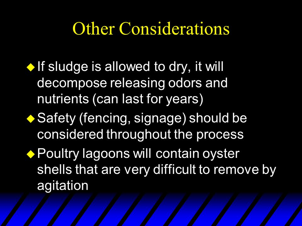 Other Considerations u If sludge is allowed to dry, it will decompose releasing odors and nutrients (can last for years) u Safety (fencing, signage) should be considered throughout the process u Poultry lagoons will contain oyster shells that are very difficult to remove by agitation