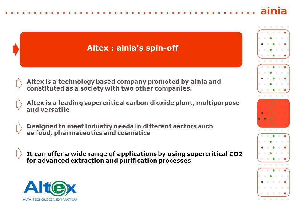 It can offer a wide range of applications by using supercritical CO2 for advanced extraction and purification processes Altex : ainia's spin-off Designed to meet industry needs in different sectors such as food, pharmaceutics and cosmetics Altex is a leading supercritical carbon dioxide plant, multipurpose and versatile Altex is a technology based company promoted by ainia and constituted as a society with two other companies.