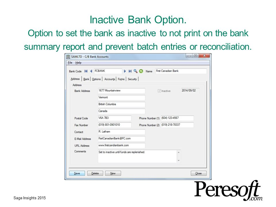Inactive Bank Option.