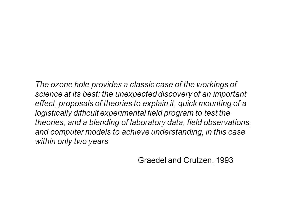 The ozone hole provides a classic case of the workings of science at its best: the unexpected discovery of an important effect, proposals of theories to explain it, quick mounting of a logistically difficult experimental field program to test the theories, and a blending of laboratory data, field observations, and computer models to achieve understanding, in this case within only two years Graedel and Crutzen, 1993