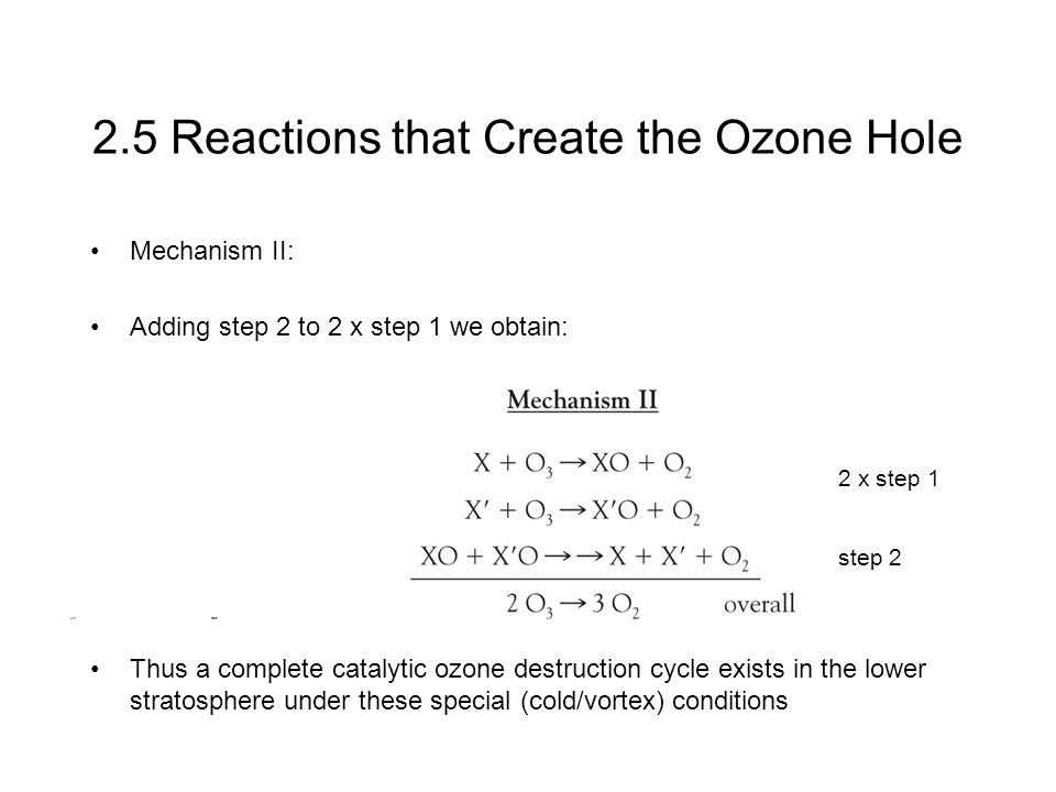 2.5 Reactions that Create the Ozone Hole Mechanism II: Adding step 2 to 2 x step 1 we obtain: Thus a complete catalytic ozone destruction cycle exists in the lower stratosphere under these special (cold/vortex) conditions step 2 2 x step 1