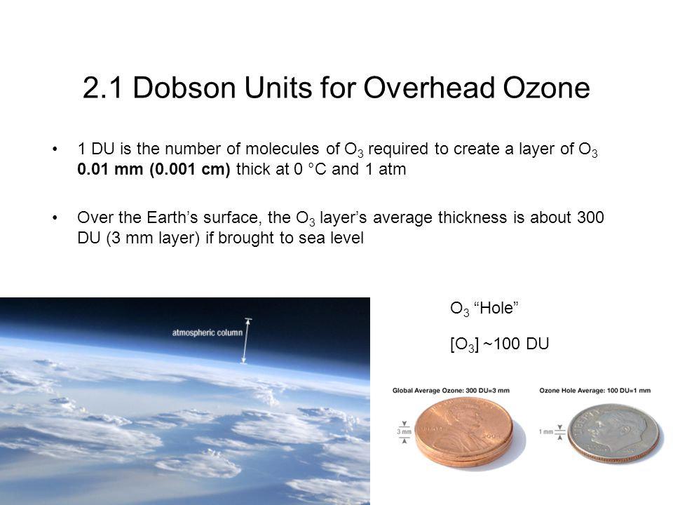 2.1 Dobson Units for Overhead Ozone 1 DU is the number of molecules of O 3 required to create a layer of O 3 0.01 mm (0.001 cm) thick at 0 °C and 1 atm Over the Earth's surface, the O 3 layer's average thickness is about 300 DU (3 mm layer) if brought to sea level O 3 Hole [O 3 ] ~100 DU