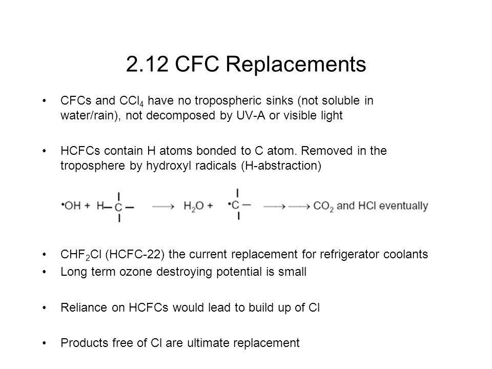 2.12 CFC Replacements CFCs and CCl 4 have no tropospheric sinks (not soluble in water/rain), not decomposed by UV-A or visible light HCFCs contain H atoms bonded to C atom.