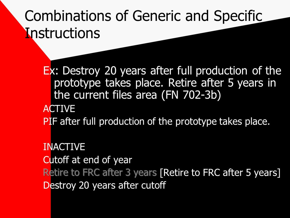 Combinations of Generic and Specific Instructions