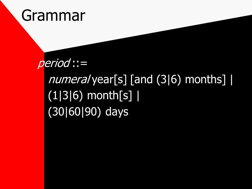 Grammar period ::= numeral year[s] [and (3|6) months] | (1|3|6) month[s] | (30|60|90) days