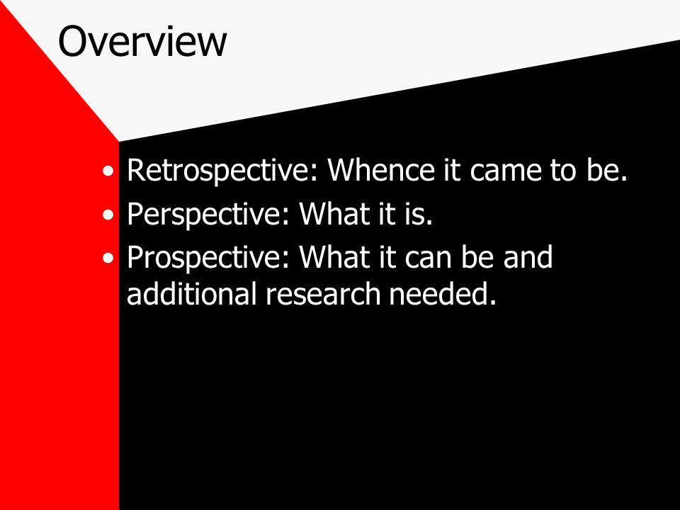 Overview Retrospective: Whence it came to be. Perspective: What it is.