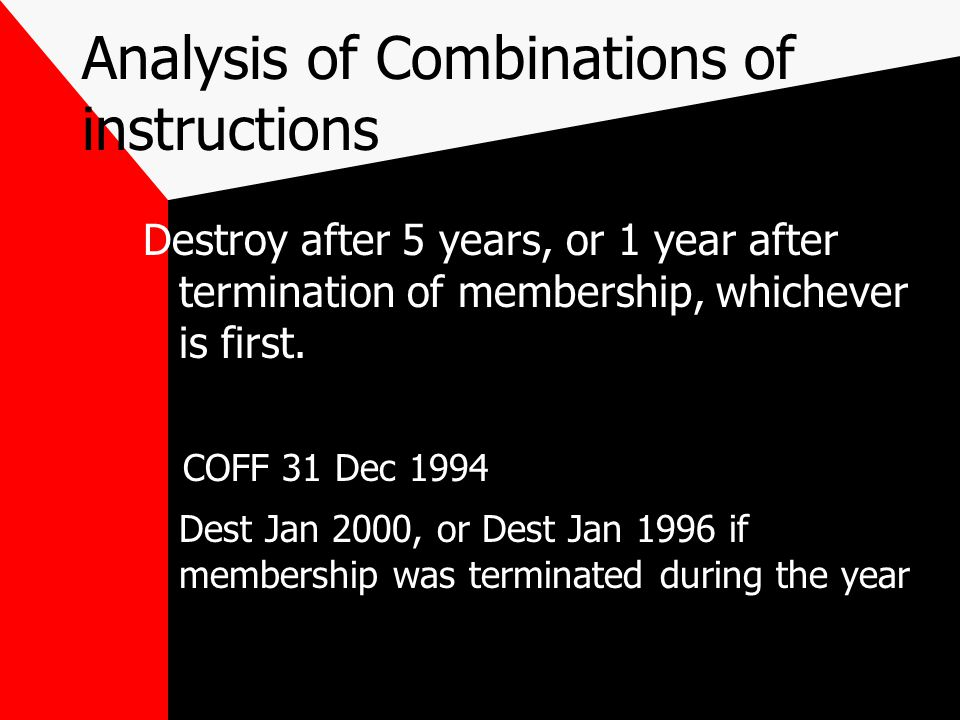 Second Alternative Meaning Destroy after 5 years, or 1 year after termination of membership, whichever is first.