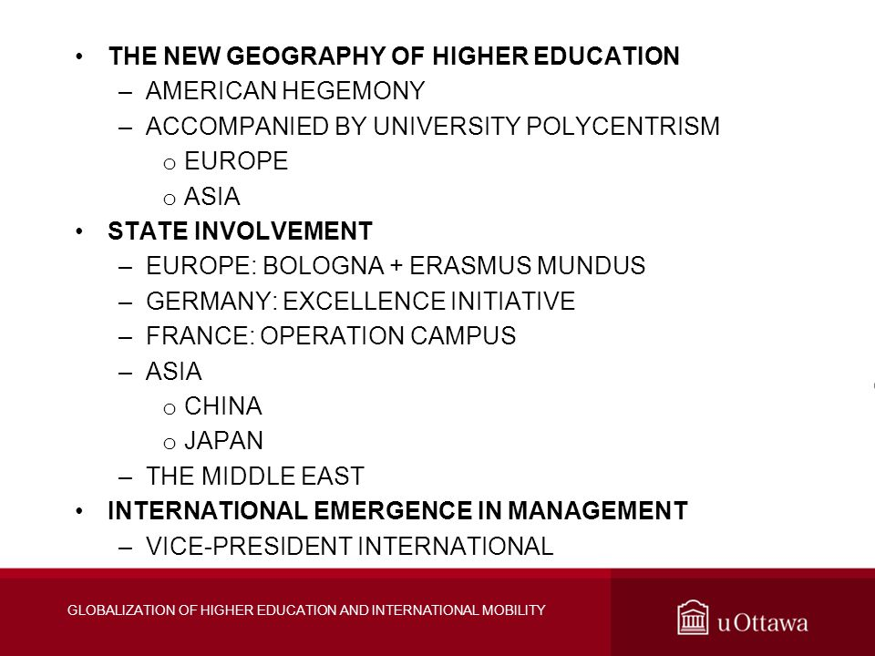 THE NEW GEOGRAPHY OF HIGHER EDUCATION –AMERICAN HEGEMONY –ACCOMPANIED BY UNIVERSITY POLYCENTRISM o EUROPE o ASIA STATE INVOLVEMENT –EUROPE: BOLOGNA + ERASMUS MUNDUS –GERMANY: EXCELLENCE INITIATIVE –FRANCE: OPERATION CAMPUS –ASIA o CHINA o JAPAN –THE MIDDLE EAST INTERNATIONAL EMERGENCE IN MANAGEMENT –VICE-PRESIDENT INTERNATIONAL GLOBALIZATION OF HIGHER EDUCATION AND INTERNATIONAL MOBILITY