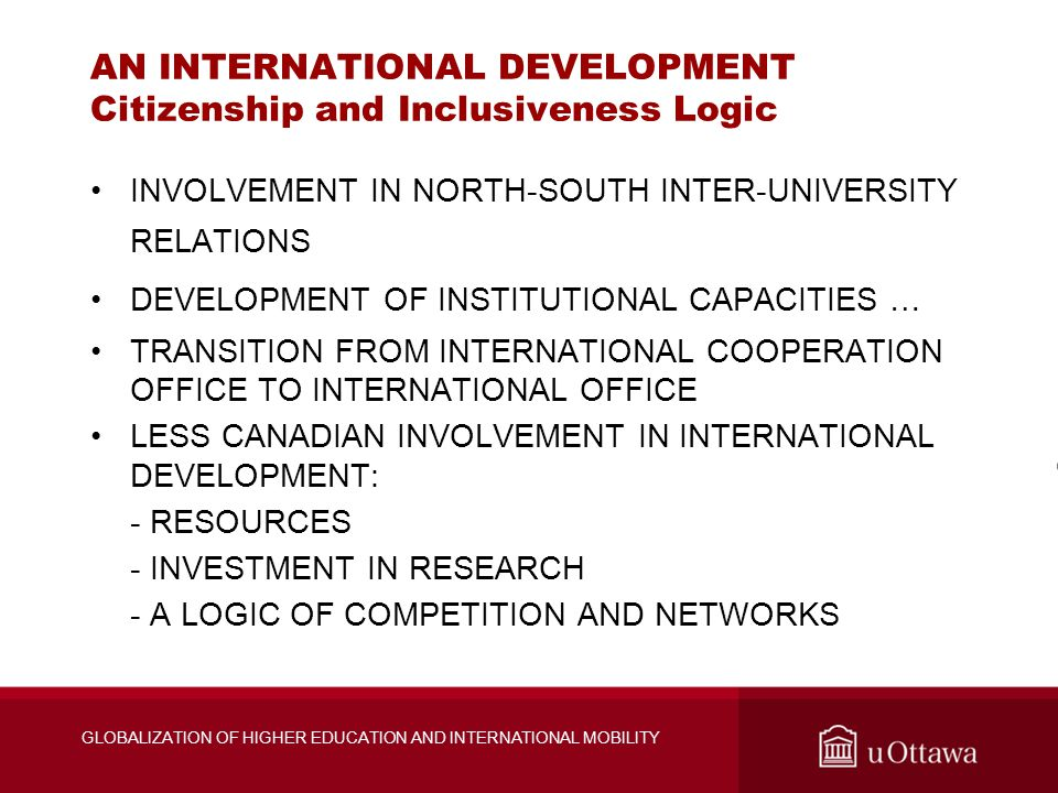 GLOBALIZATION OF HIGHER EDUCATION AND INTERNATIONAL MOBILITY AN INTERNATIONAL DEVELOPMENT Citizenship and Inclusiveness Logic INVOLVEMENT IN NORTH-SOU