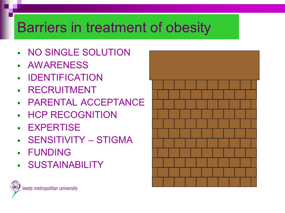Barriers in treatment of obesity  NO SINGLE SOLUTION  AWARENESS  IDENTIFICATION  RECRUITMENT  PARENTAL ACCEPTANCE  HCP RECOGNITION  EXPERTISE  SENSITIVITY – STIGMA  FUNDING  SUSTAINABILITY