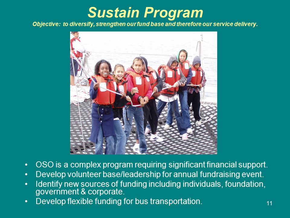 11 Sustain Program Objective: to diversify, strengthen our fund base and therefore our service delivery.