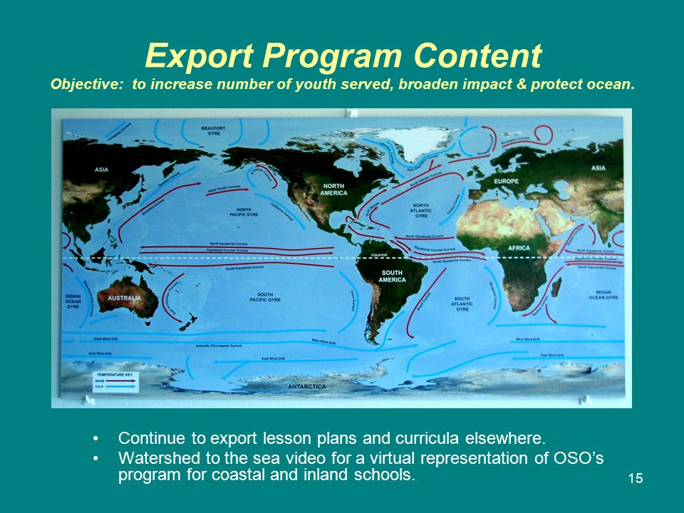 15 Export Program Content Objective: to increase number of youth served, broaden impact & protect ocean.