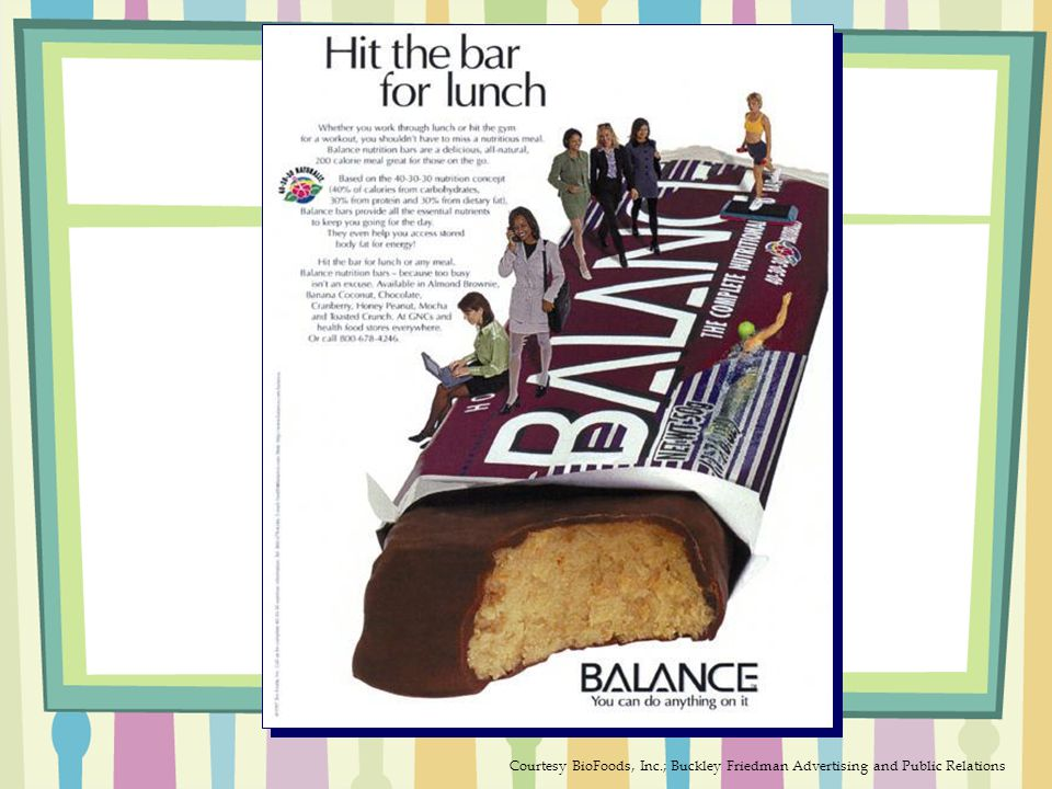 Balance Bar Courtesy BioFoods, Inc.; Buckley Friedman Advertising and Public Relations
