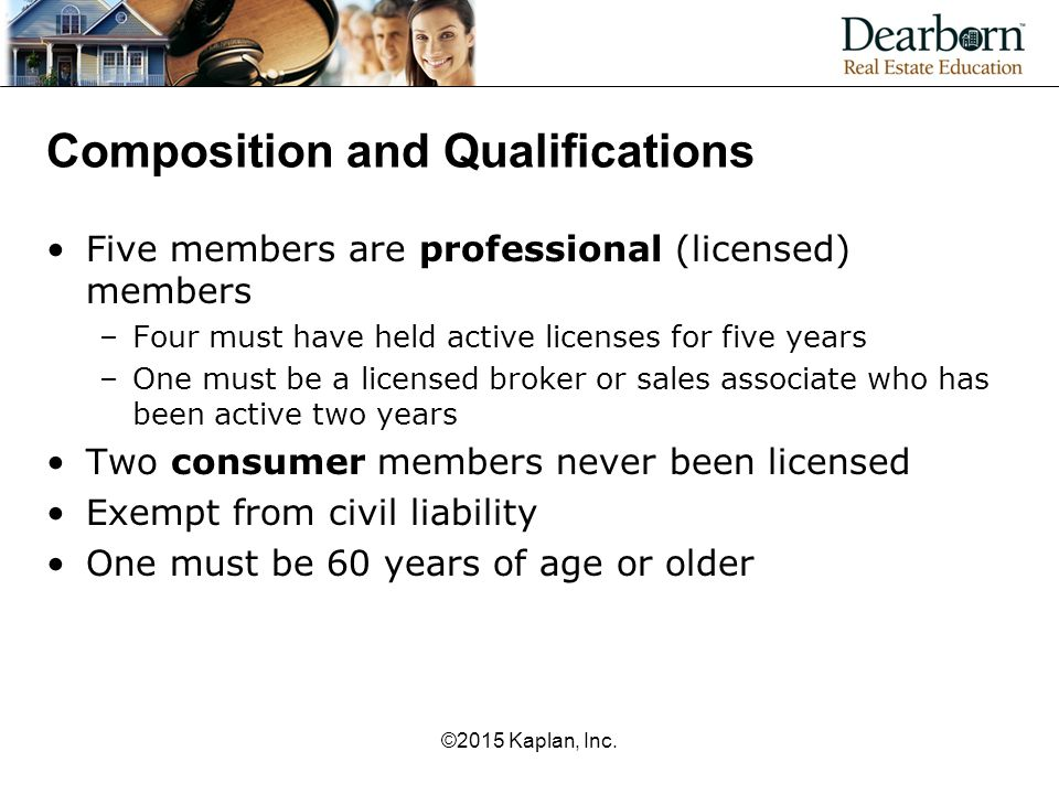 Composition and Qualifications Five members are professional (licensed) members –Four must have held active licenses for five years –One must be a licensed broker or sales associate who has been active two years Two consumer members never been licensed Exempt from civil liability One must be 60 years of age or older ©2015 Kaplan, Inc.