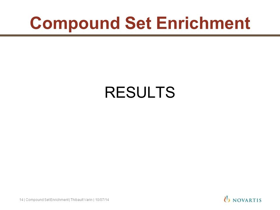 RESULTS | Compound Set Enrichment | Thibault Varin | 10/07/1414 Compound Set Enrichment