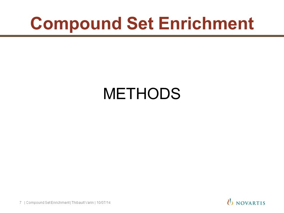 METHODS | Compound Set Enrichment | Thibault Varin | 10/07/147 Compound Set Enrichment