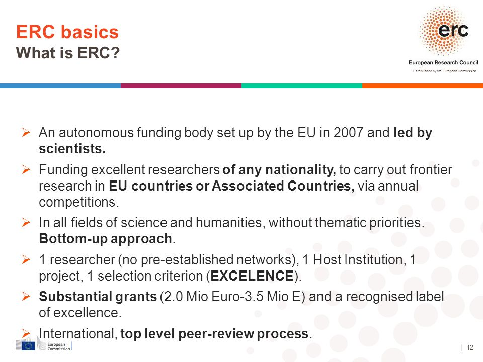Established by the European Commission ERC basics What is ERC? │ 12  An autonomous funding body set up by the EU in 2007 and led by scientists.  Fun
