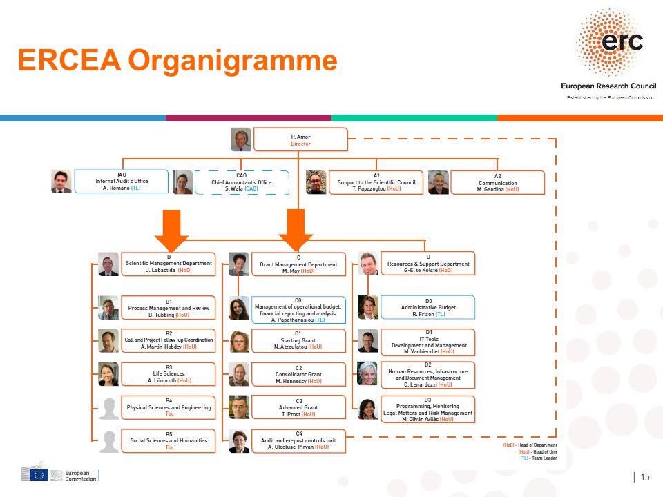 Established by the European Commission │ 15 ERCEA Organigramme