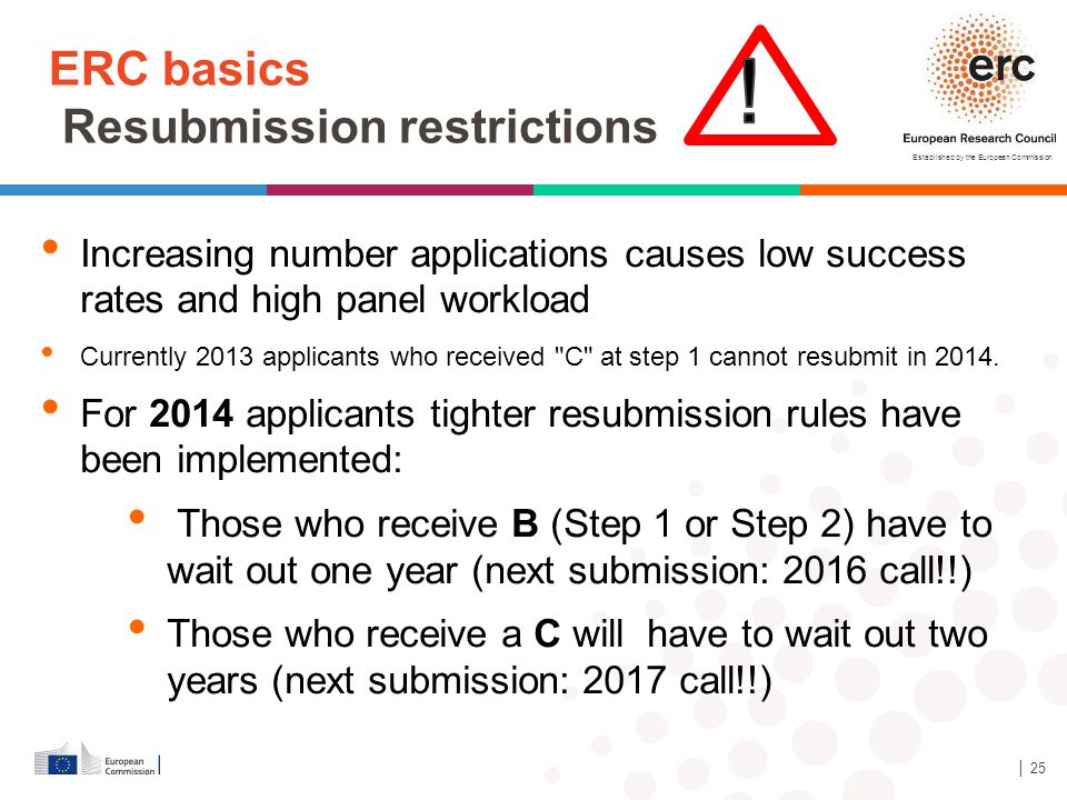 Established by the European Commission ERC basics Resubmission restrictions │ 25 Increasing number applications causes low success rates and high pane