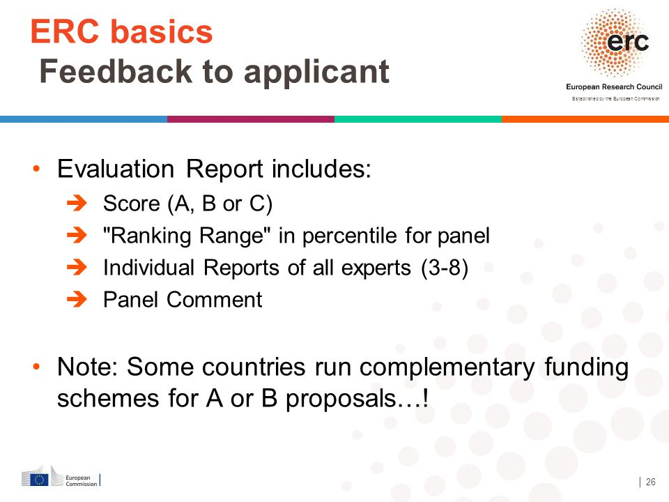Established by the European Commission ERC basics Feedback to applicant Evaluation Report includes:  Score (A, B or C) 