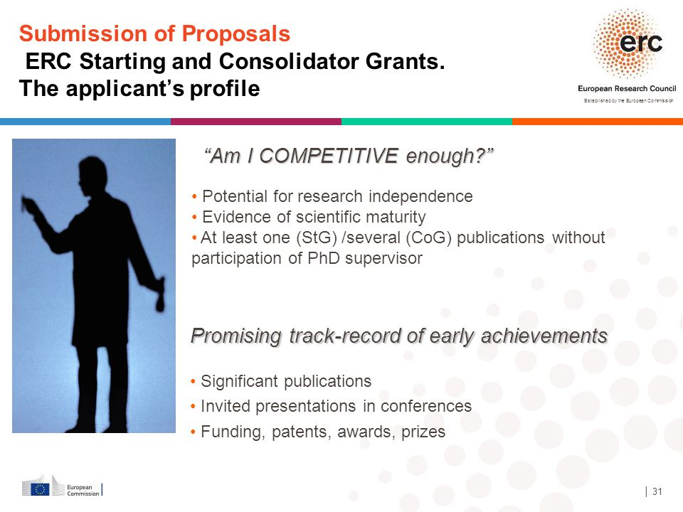 Established by the European Commission │ 31 Submission of Proposals ERC Starting and Consolidator Grants. The applicant's profile Potential for resear