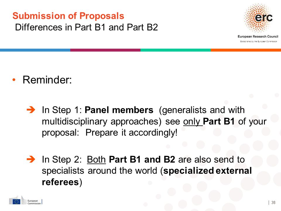 Established by the European Commission Submission of Proposals Differences in Part B1 and Part B2 Reminder:  In Step 1: Panel members (generalists an