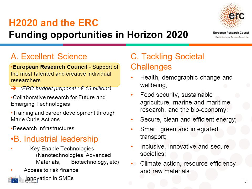 Established by the European Commission C. Tackling Societal Challenges Health, demographic change and wellbeing; Food security, sustainable agricultur