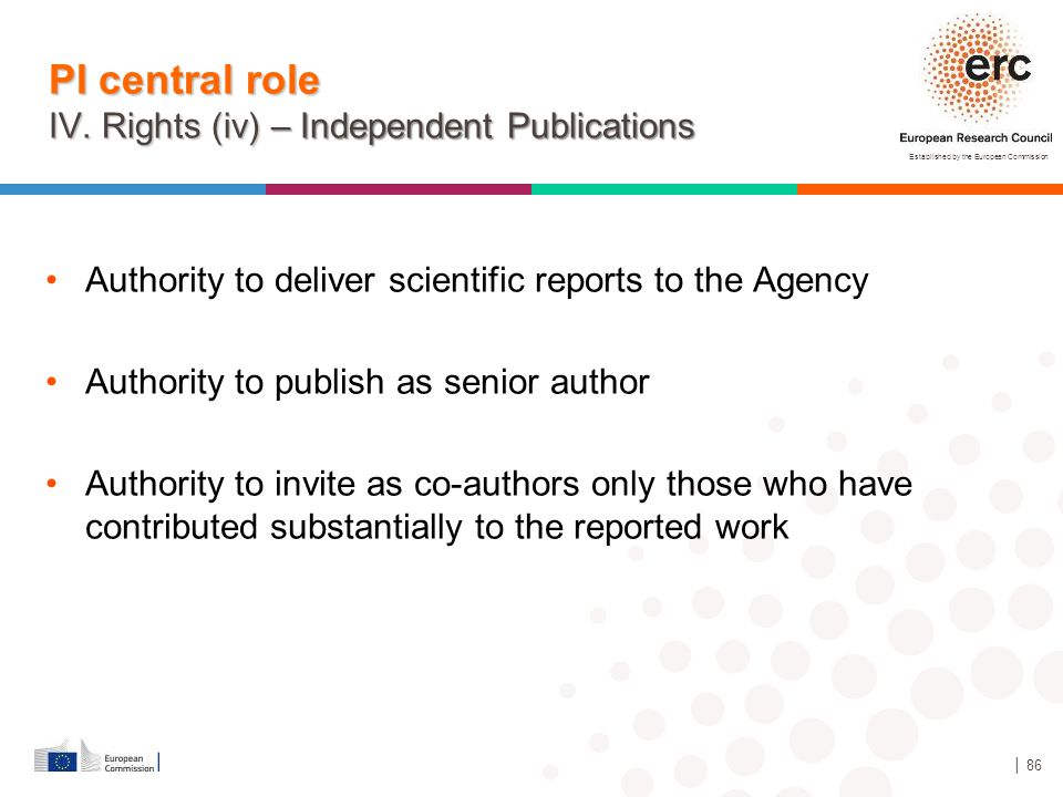 Established by the European Commission │ 86 PI central role IV. Rights (iv) – Independent Publications Authority to deliver scientific reports to the