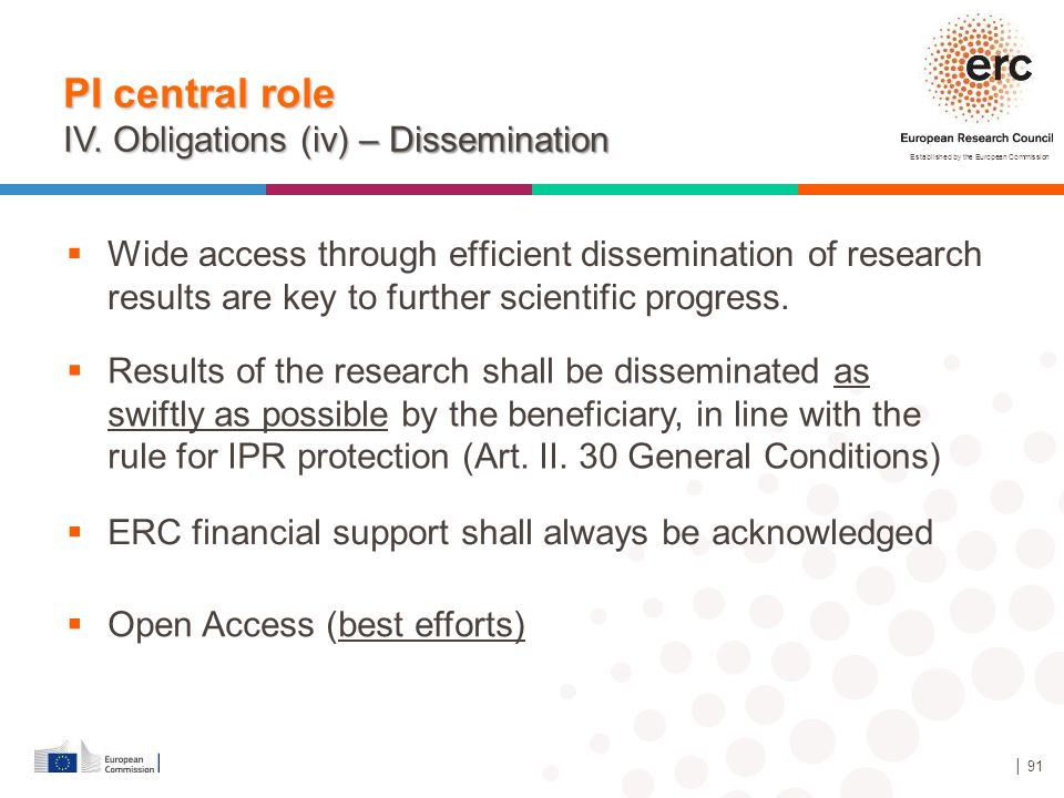 Established by the European Commission │ 91  Wide access through efficient dissemination of research results are key to further scientific progress.