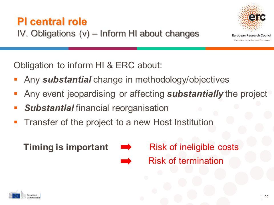 Established by the European Commission │ 92 PI central role IV. Obligations (v) – Inform HI about changes Obligation to inform HI & ERC about:  Any s