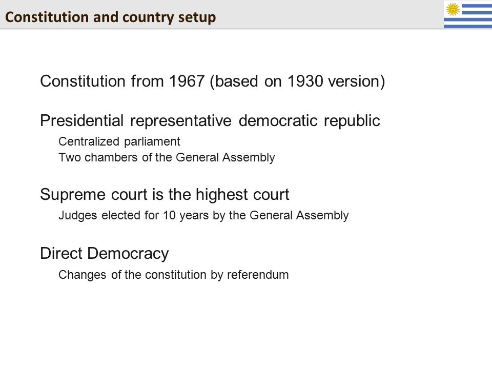Constitution and country setup Constitution from 1967 (based on 1930 version) Presidential representative democratic republic Centralized parliament T