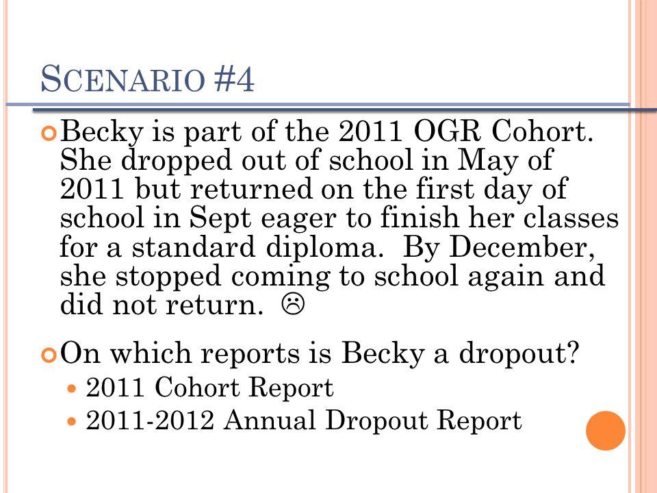 S CENARIO #4 Becky is part of the 2011 OGR Cohort.