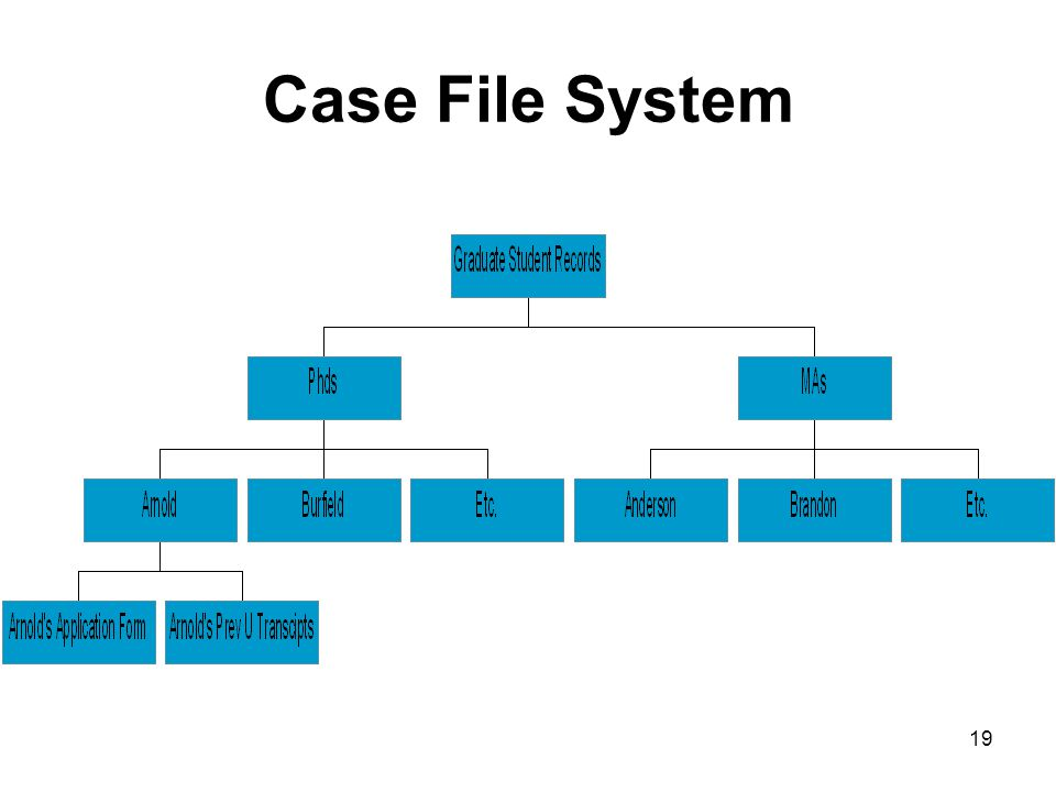 18 Active Record Keeping Filing Case files: Separate PhDs from MAs. Arrange alpha by student last name within these. Some documents have shorter reten