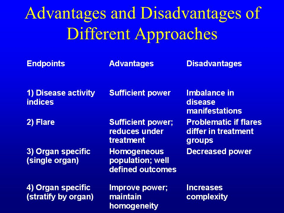 Advantages and Disadvantages of Different Approaches