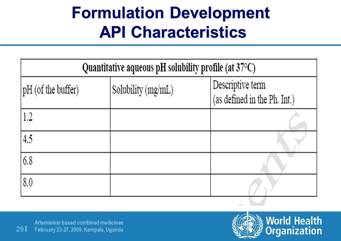 Artemisinin based combined medicines February 23-27, 2009, Kampala, Uganda 29 | Formulation Development API Characteristics