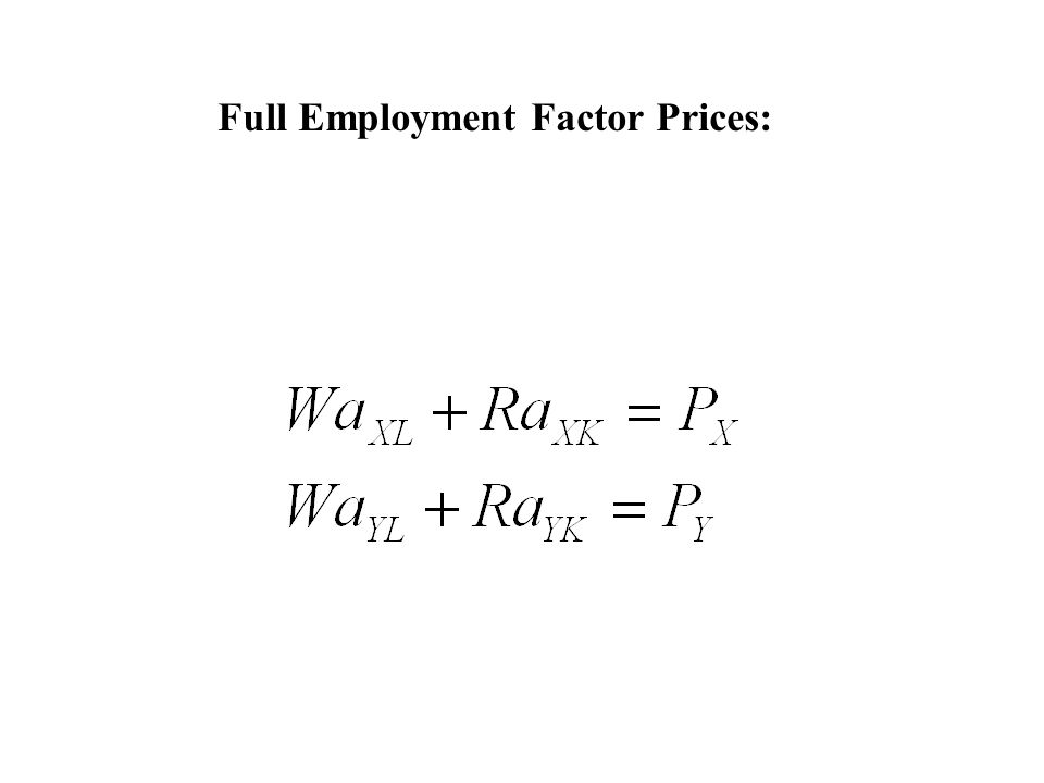 Full Employment Factor Prices: