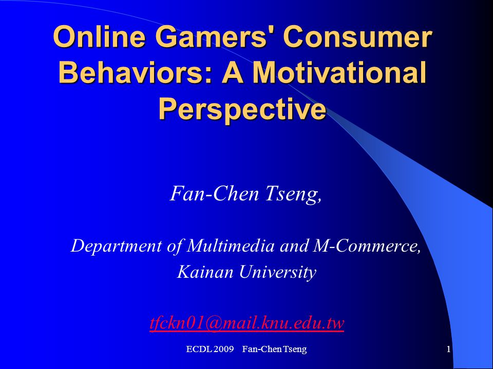 ECDL 2009 Fan-Chen Tseng12 Motives and Behavioral Responses to Marketing Offers (4) Willingness to purchase virtual assets : Willing to purchase (%)Not willing (%) Aggressive gamers71.928.1 Social gamers36.463.6 Inactive gamers41.758.3