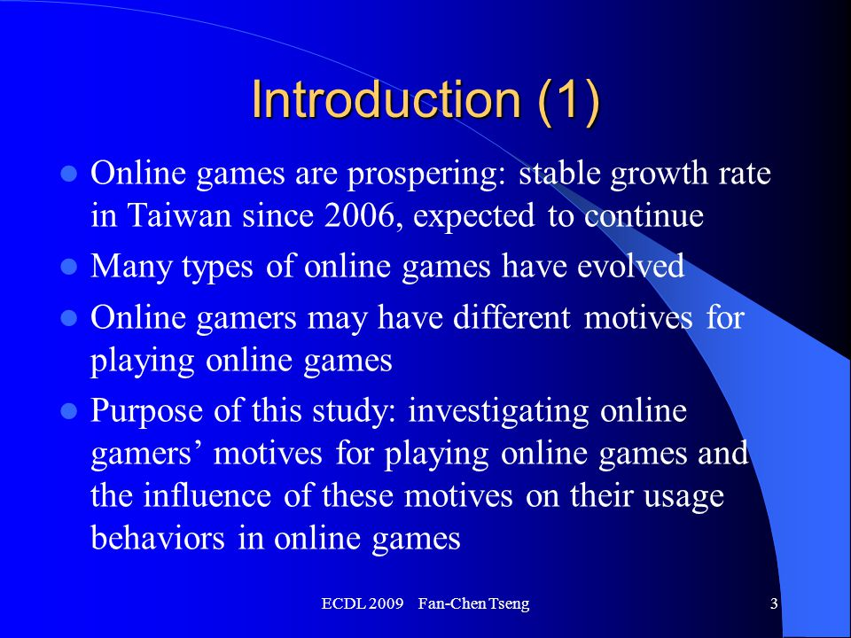 ECDL 2009 Fan-Chen Tseng4 Introduction (2) Hypothesis 1 – Online gamers with different motives show differences in: age, gender, education, occupation Hypothesis 2 – Online gamers with different motives show differences in: Status of playing online games Preferred types of online games Amounts of money willing to spend monthly Willingness to purchase or bid for virtual assets