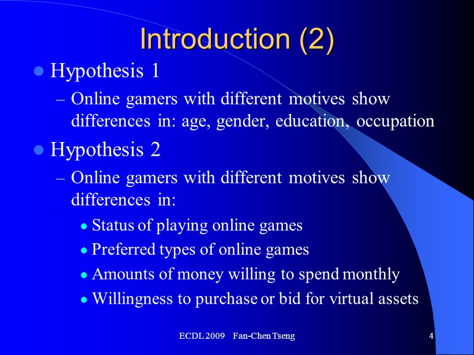 ECDL 2009 Fan-Chen Tseng15 Conclusion Discovered two factors underlying gamers' motives: the need for exploration and the need for conquering Online gamers can be categorized as aggressive gamers, social gamers, and inactive gamers, based on these two factors.