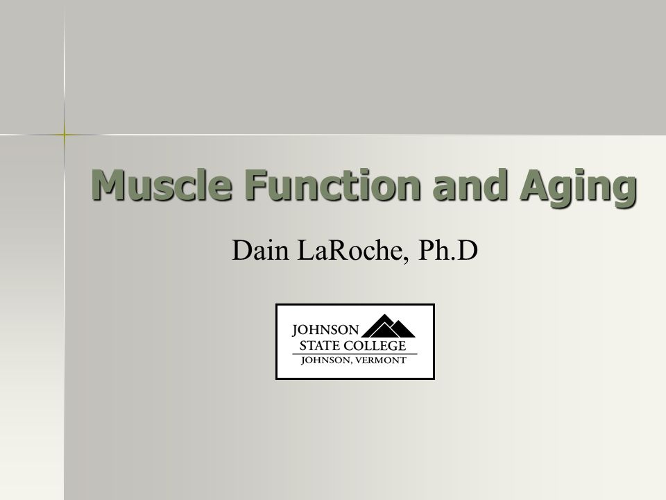 Muscle Function and Aging Dain LaRoche, Ph.D