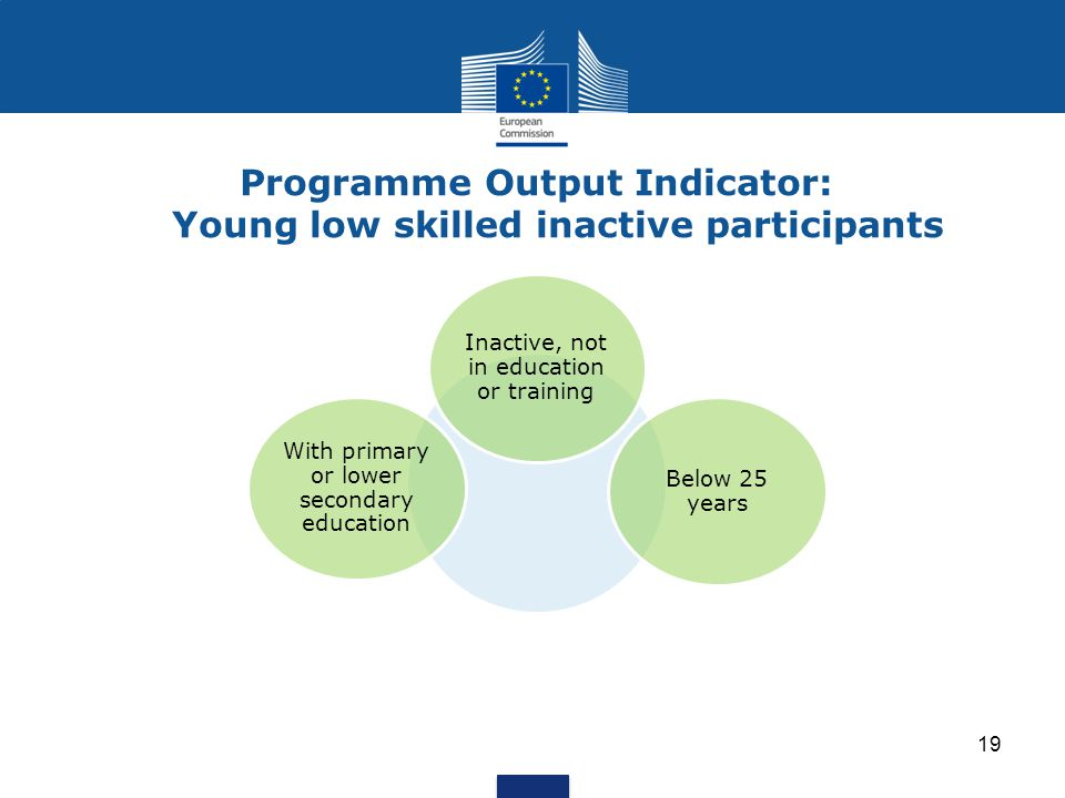 Programme Output Indicator: Young low skilled inactive participants 19 With primary or lower secondary education Below 25 years Inactive, not in education or training
